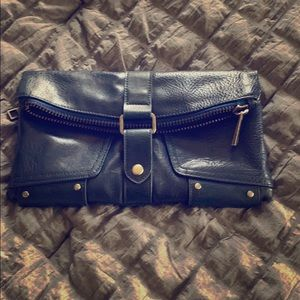 Chic navy vegan leather clutch
